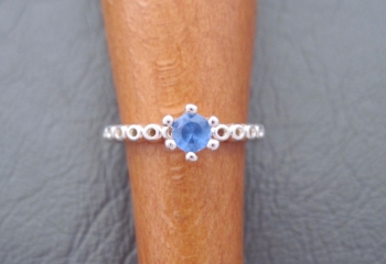 Sterling silver blue solitaire ring
