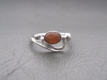 Fancy asymmetric sterling silver & sunstone ring
