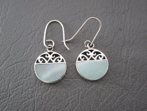 Fancy sterling silver & pale green Mother of Pearl earrings