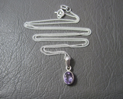 Sterling silver bezel set oval amethyst necklace