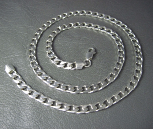 Solid sterling silver beveled edge curb chain. 19.75
