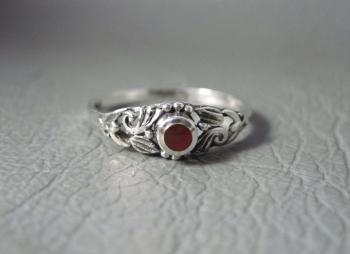 Fancy sterling silver & carnelian ring