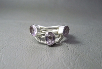 Sterling silver & amethyst trio wave ring