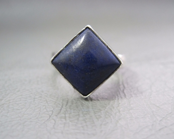 Chunky sterling silver & lapis ring