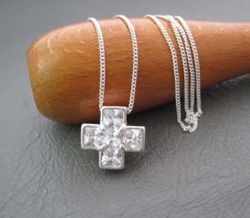 Sterling silver & 5 stone cross necklace