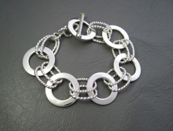 Chunky Tianguis Jackson sterling silver bracelet with open discs & twisted ovals