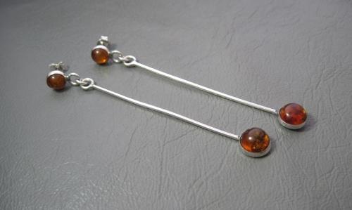 Long slender sterling silver & amber drop earrings