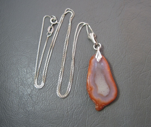 Vintage silver & agate slice necklace