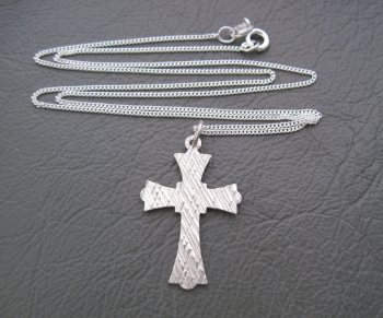 Fancy Italian sterling silver textured front cross necklace
