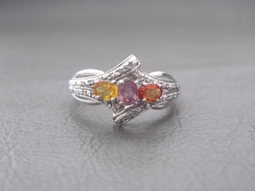 Elegant sterling silver & multi gem trilogy ring