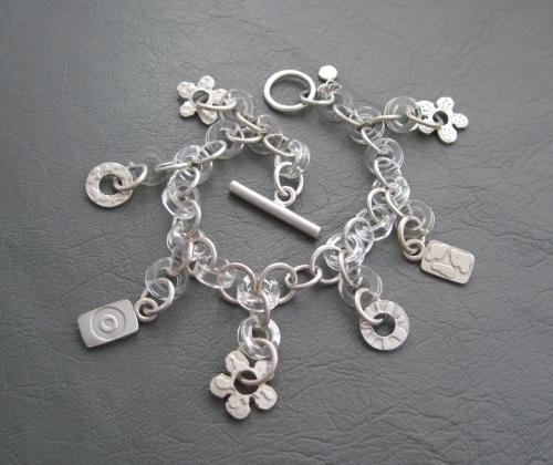 Unusual vintage sterling silver & lucite charmed toggle bracelet