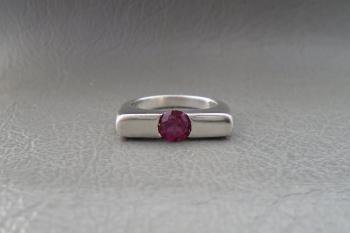 Unusual sterling silver & dark pink stone ring