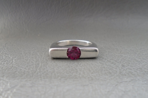 Unusual sterling silver & dark pink stone ring