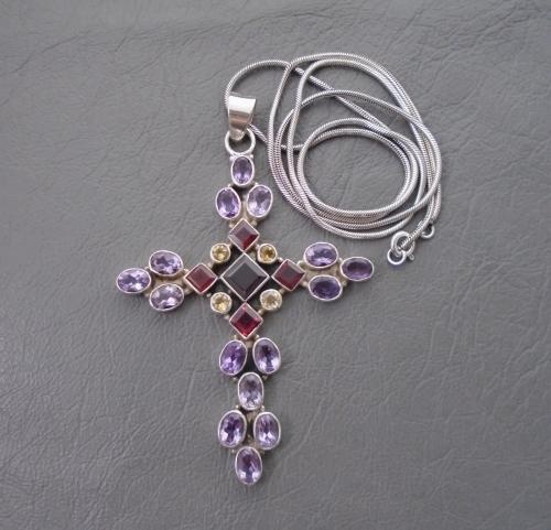 Large sterling silver & multi gem set cross necklace
