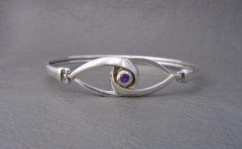 Sterling silver & amethyst bangle