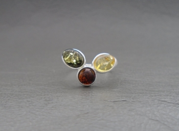 (NEW) Wishbone style sterling silver & multi-amber ring