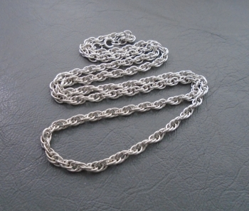 """Vintage sterling silver rope chain (24.25"""", 4mm)"""