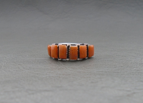 Southwestern style sterling silver & orange agate ring