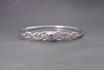 Celtic sterling silver bangle set with amethyst