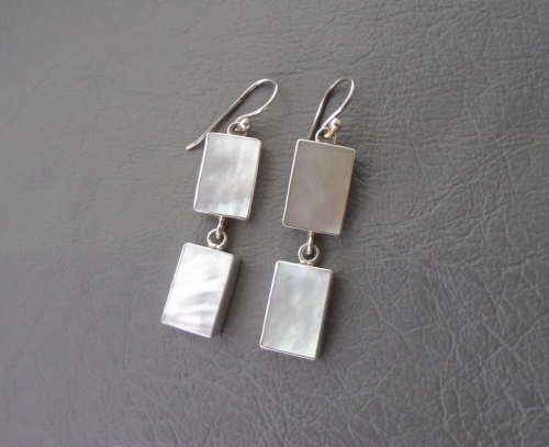 Rectangular sterling silver & Mother of Pearl earrings