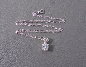 Classic sterling silver & clear stone necklace on a gently twisted chain