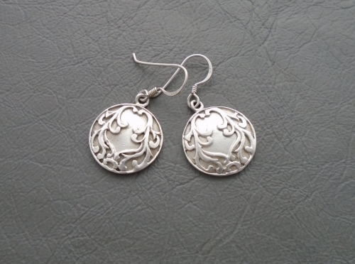 Fancy sterling silver scroll disc earrings