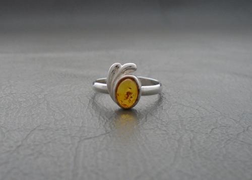 Asymmetric sterling silver & amber ring
