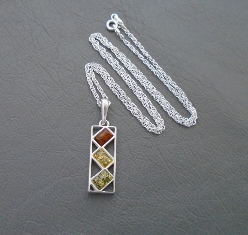 Sterling silver & tri-colour amber necklace