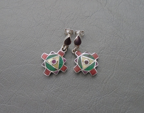 South western 950 silver earrings with multi-inlay
