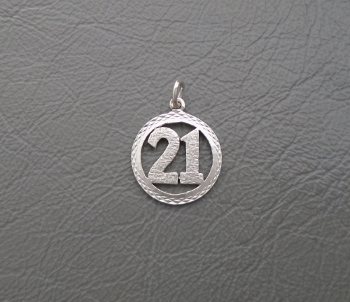Vintage sterling silver '21' charm