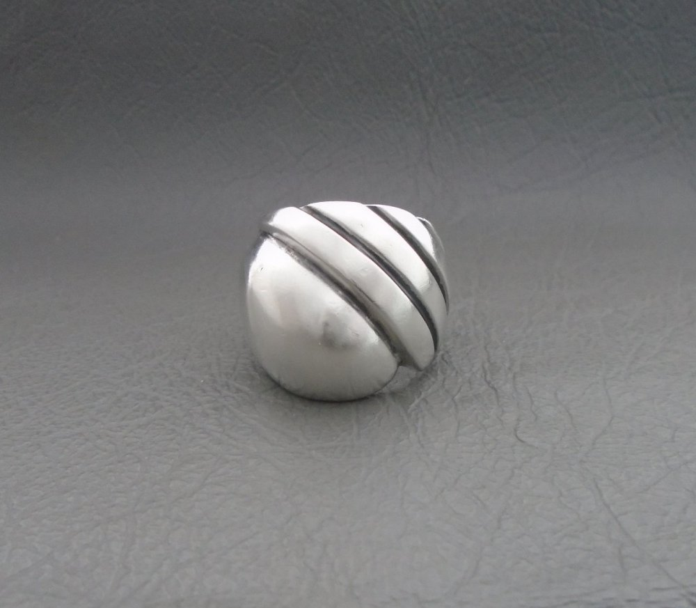 Chunky sterling silver ring with oxidised stripe detail