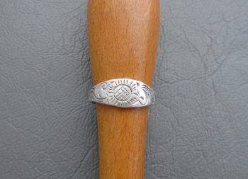 Charming sterling silver floral hand etched ring
