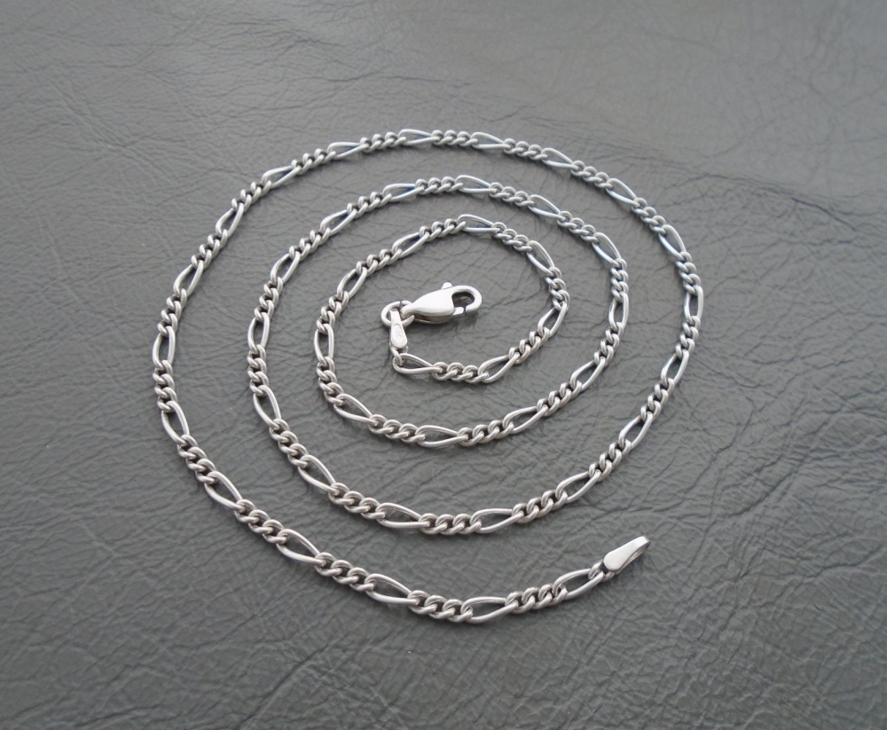 "Sterling silver rounded Figaro chain (18.25"", 2mm)"