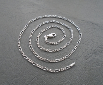 """Sterling silver rounded Figaro chain (18.25"""", 2mm)"""