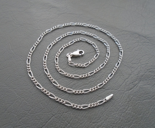 Sterling silver rounded Figaro chain