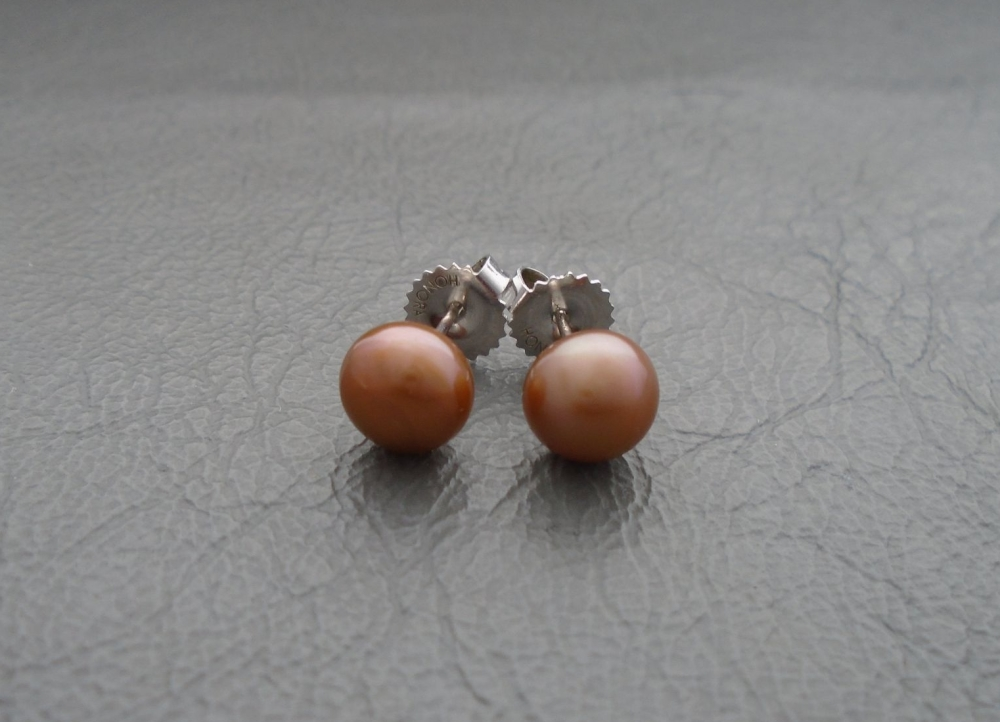 Sterling silver & HONORA bronze cultured pearl stud earrings