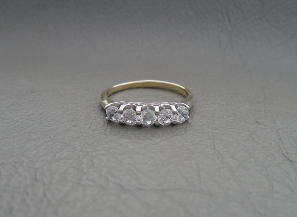 Gilt sterling silver fancy set ring