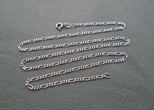 Slim sterling silver Figaro chain (18