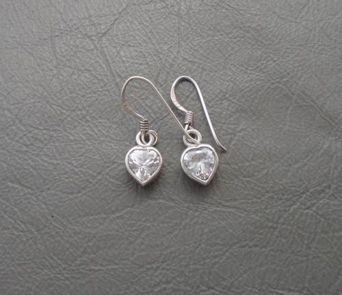 Sterling silver & clear stone heart drop earrings