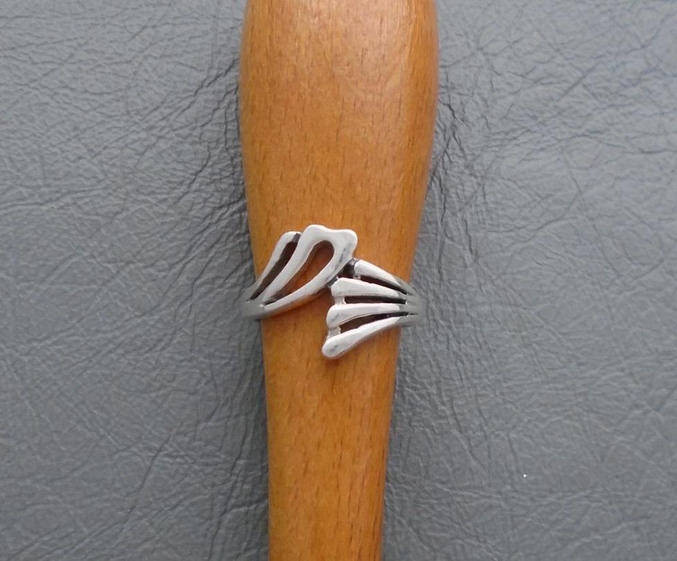 Fancy sterling silver asymmetric ring