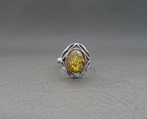 Fancy sterling silver & oval amber cabochon ring