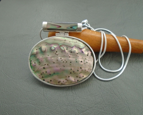 Large Italian sterling silver & abalone necklace
