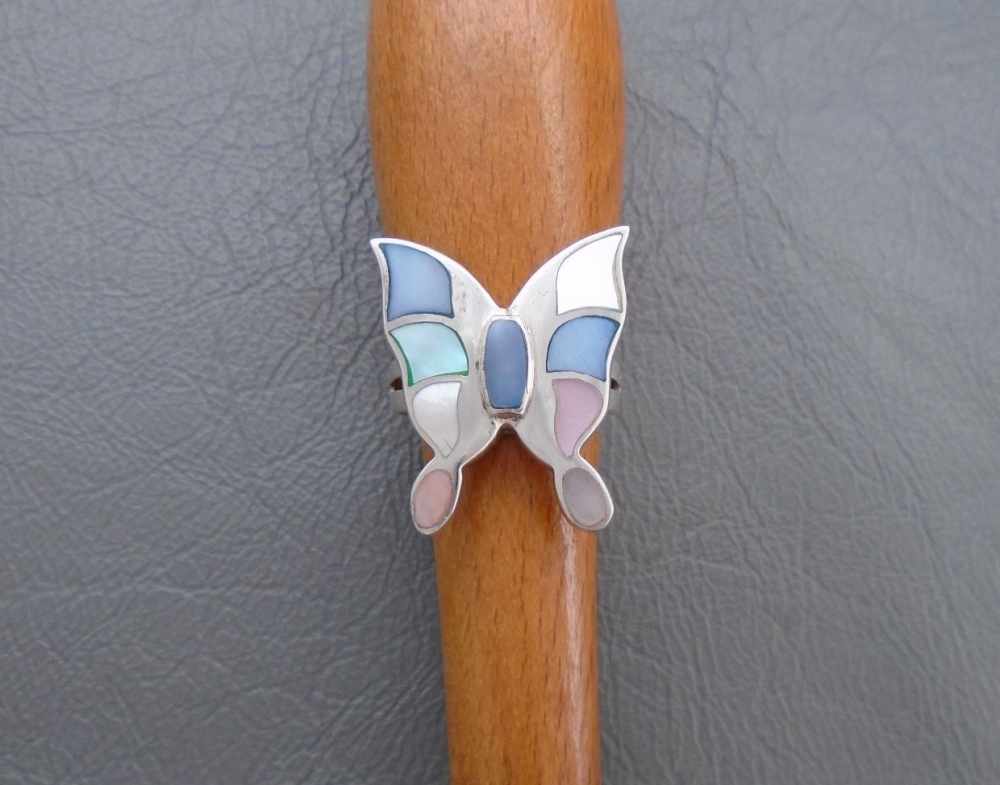 Sterling silver & pastel Mother of Pearl butterfly ring