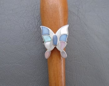 Gorgeous sterling silver & pastel Mother of Pearl butterfly ring