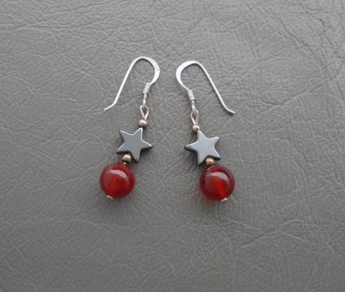 Sterling silver, hematite star & carnelian sphere earrings