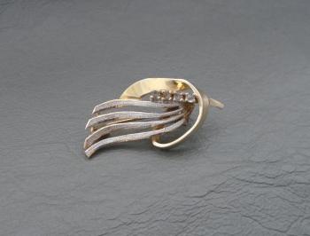 Fancy Italian gilt sterling silver brooch with stones
