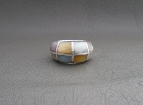 Chunky sterling silver & Mother of Pearl ring