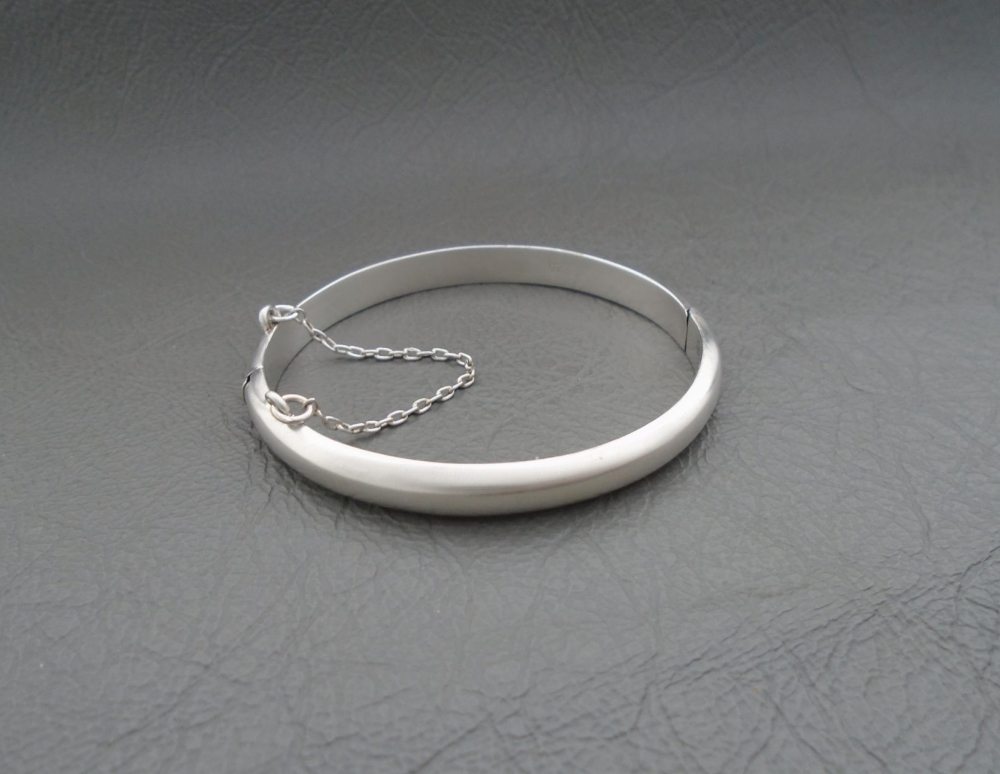 Baby sterling silver Christening bangle with safety chain