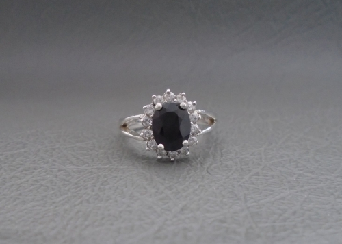Sterling silver, dark blue & clear cluster ring