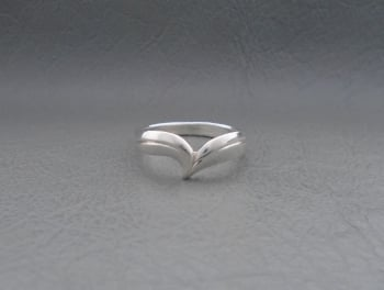 Sterling silver asymmetric wishbone ring